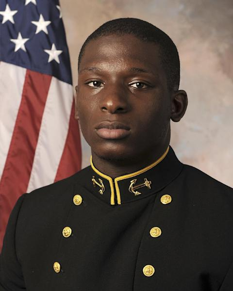 FILE - In this July, 24, 2013, file photo released by the U.S. Navy Football team shows Midshipmen Josh Tate. Vice Adm. Michael Miller, the academy superintendent, decided last month to court-martial Midshipmen Josh Tate and Eric Graham in the case involving an intoxicated classmate at an off-campus party. The alleged victim has testified she was drinking heavily at an off-campus party and has no memory of the alleged incidents. (AP Photo/U.S. Navy Football, File)