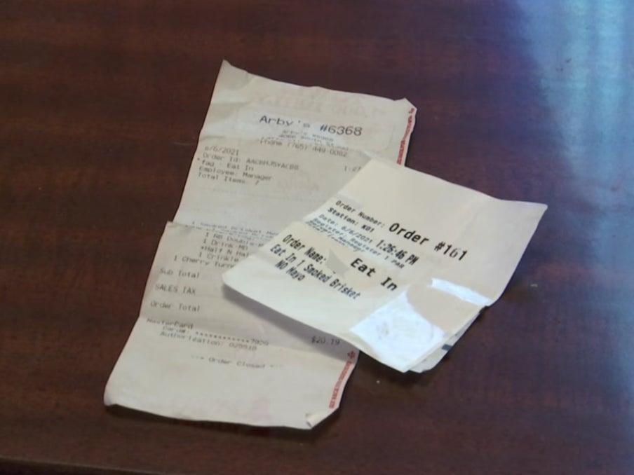 A receipt from Arby's in Indiana with a homophobic slur (WTHR)