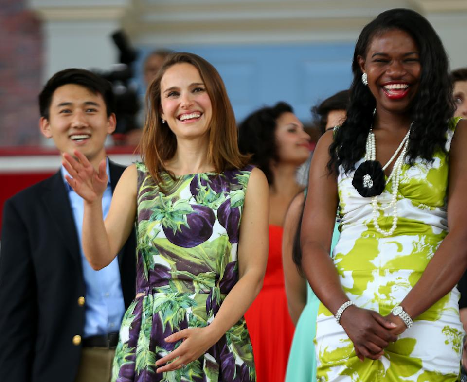 CAMBRIDGE , MA - MAY 27: Actress Natalie Portman, middle, was at Harvard University's 2015 Class day Exercises. She was the featured guest speaker at the event. Chisom Okpala Class of 2015 is at right. (Photo by Jonathan Wiggs/The Boston Globe via Getty Images)