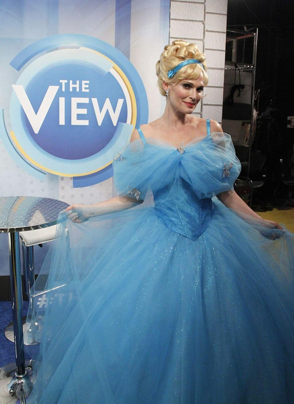 <p>The actress looked like she hopped off the screen when she dressed as Cinderella for <em>The View</em>'s Halloween episode in 2015. </p>