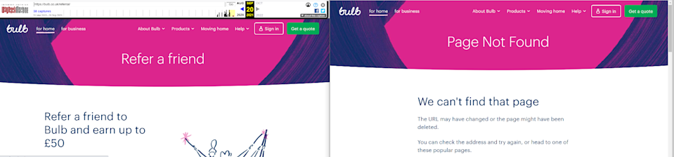 Bulb's 'refer a friend' site was live on Monday, left, but has since been removed, right (Screenshot from Internet Archive)