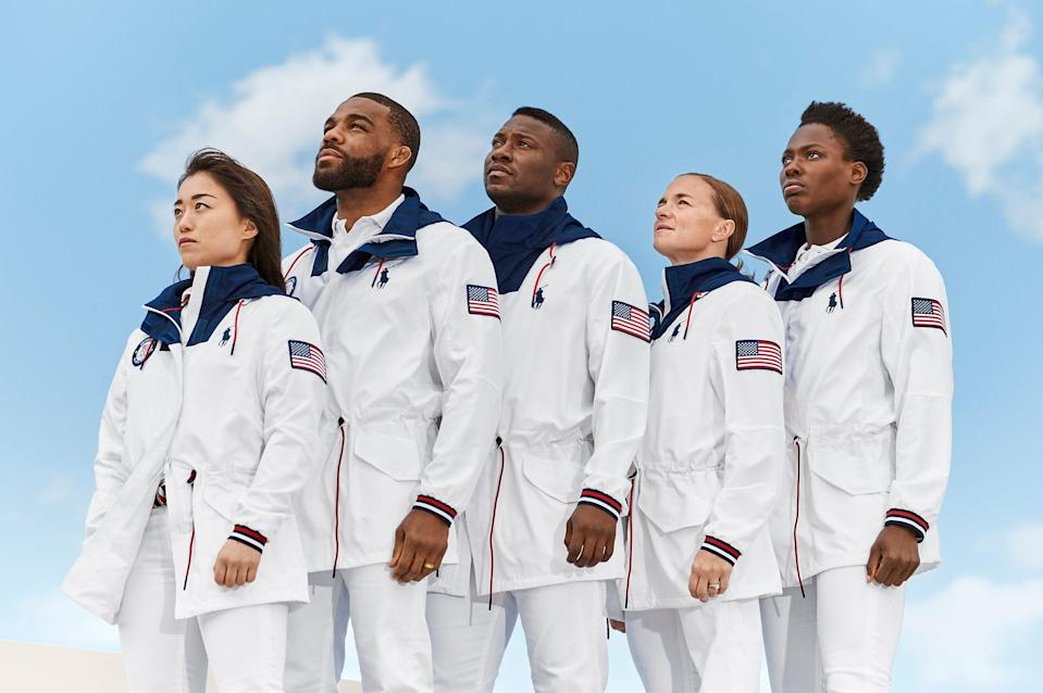 An early look at the Ralph Lauren uniforms Team USA athletes will wear at the closing ceremony in Tokyo