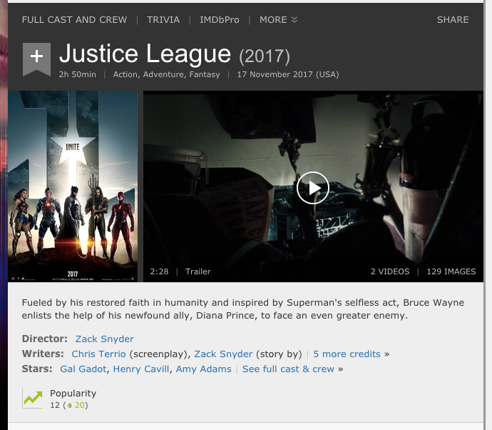 Here's what Justice League's IMDB page looks like as of 30 March, 2017 (IMDB)