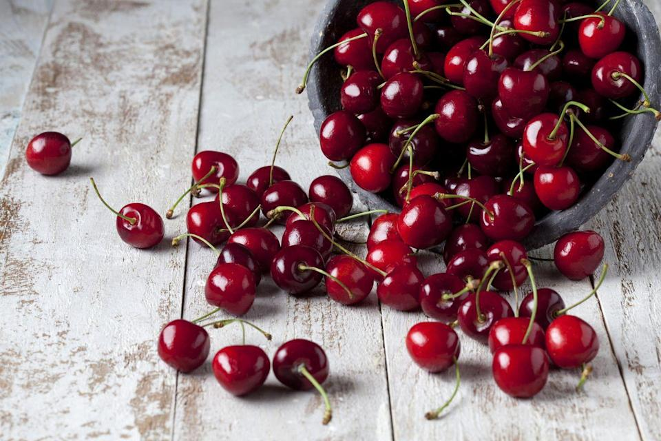 """<p><a href=""""https://www.prevention.com/food-nutrition/healthy-eating/a19731186/benefits-of-cherries/"""" rel=""""nofollow noopener"""" target=""""_blank"""" data-ylk=""""slk:Tart cherries"""" class=""""link rapid-noclick-resp"""">Tart cherries</a> contain anti-inflammatory compounds that boost your brain health, ease stress, and help you fall asleep faster. </p>"""