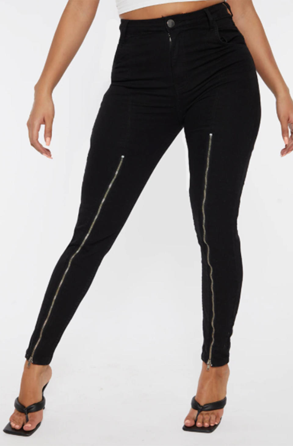 Pretty Little Thing Shape Black High Waist Zip Detail Skinny Jeans, on sale for $19. Photo: Pretty Little Thing.