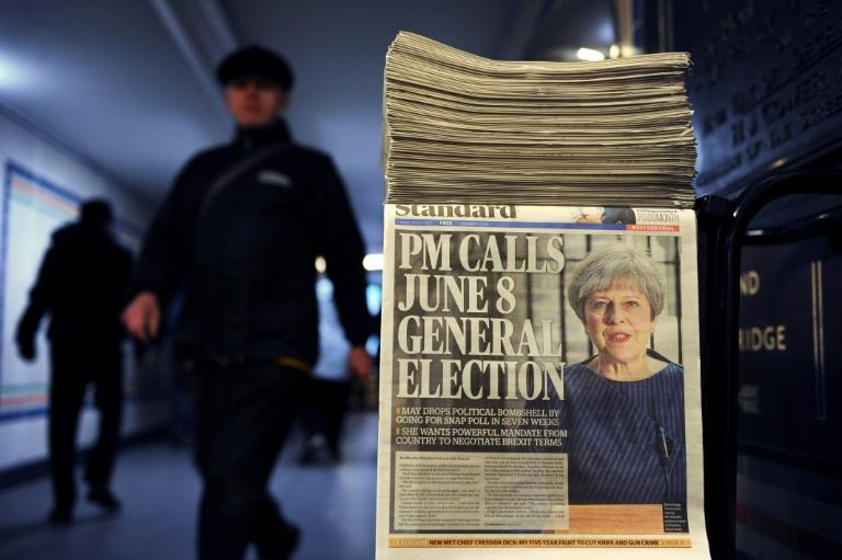 British Prime Minister Theresa May's surprise call for a snap general election on June 8 dominates the front pages of newspapers