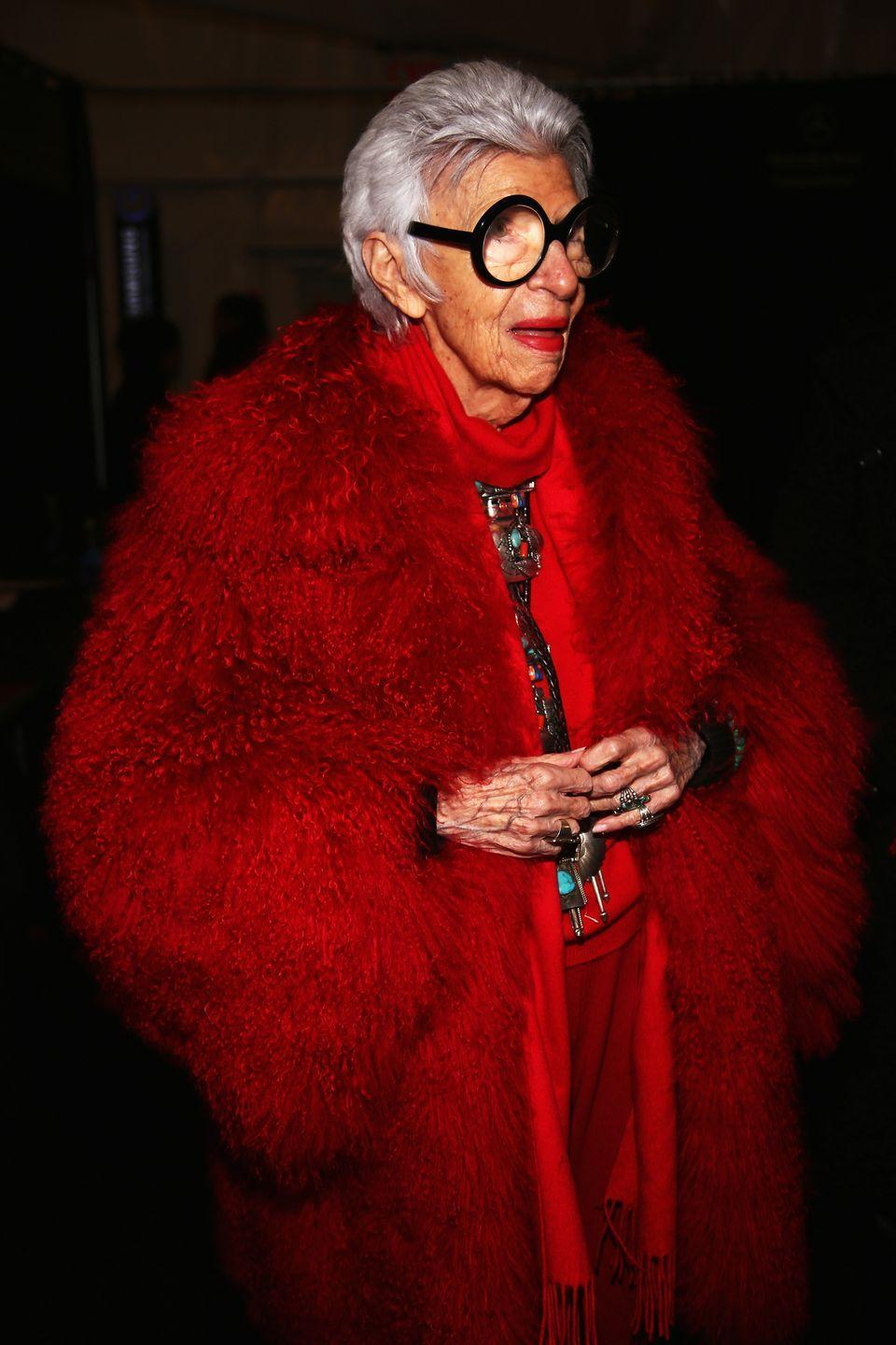 <p>A vision in red: the fashion maven arrives to the Ralph Rucci fashion show wearing a blood red ensemble paired with Southwestern silver and turquoise jewelry. <br></p>
