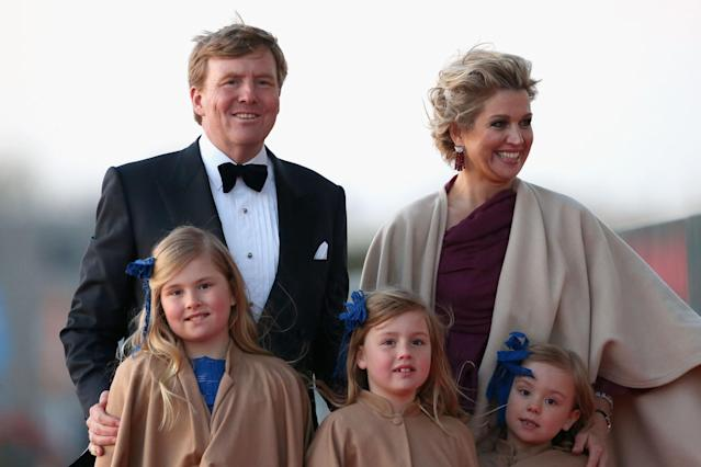 AMSTERDAM, NETHERLANDS - APRIL 30: King Willem Alexander, Queen Maxima and their daughters Princess Catharina-Amalia; Princess Alexia and Princess Ariane of The Netherlands arrive at the Muziekbouw following the water pageant after the abdication of Queen Beatrix of the Netherlands and the Inauguration of King Willem Alexander of the Netherlands on April 30, 2013 in Amsterdam, Netherlands. (Photo by Chris Jackson/Getty Images)
