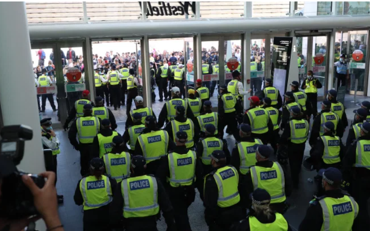 <p>Police clash with protesters at Westfield</p> (Twitter)