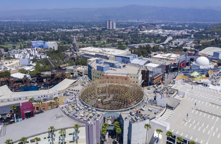 UNIVERSAL CITY, CA - APRIL 28: Drone images of Universal Studios Hollywood and empty parking lots on Tuesday, April 28, 2020 in Universal City, CA. (Brian van der Brug / Los Angeles Times)