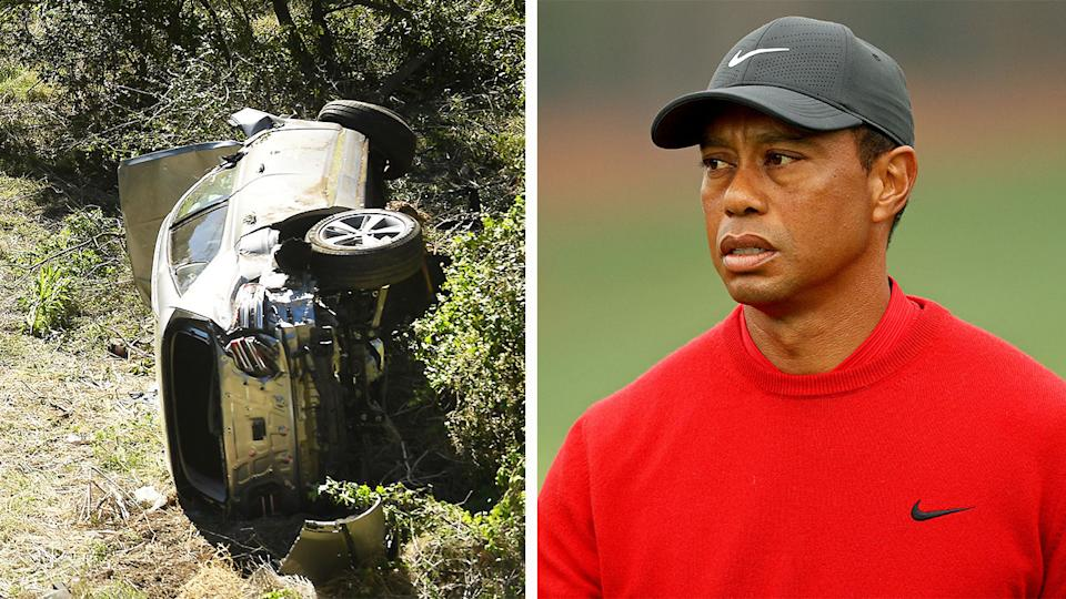 Tiger Woods (pictured right) during a golf tournament and his car crash (pictured left) in LA.
