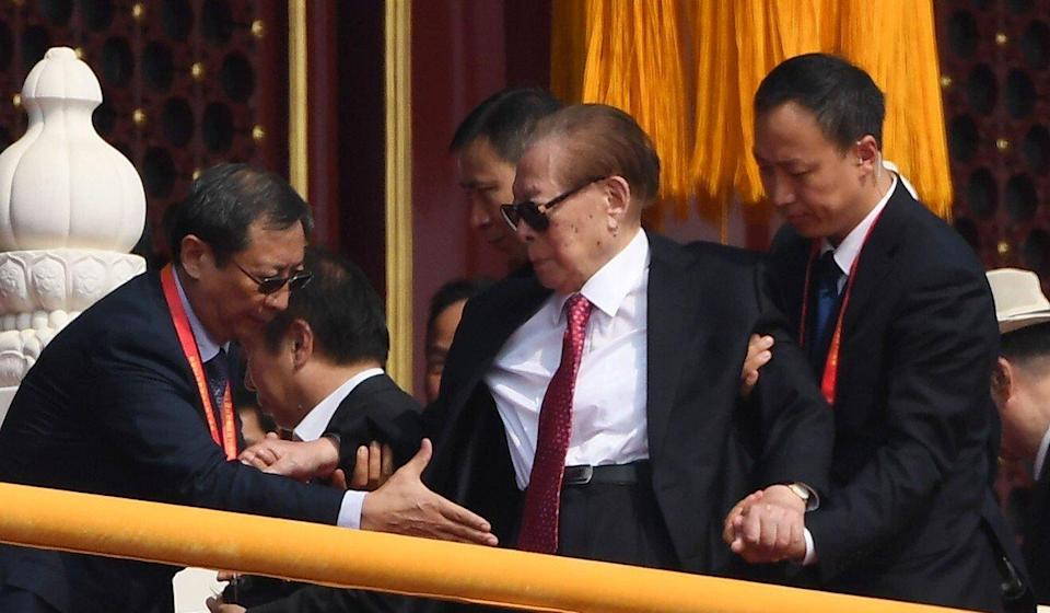 Former president Jiang Zemin was least seen in public in October 2019 and is thought to have been too frail to attend Thursday's event. Photo: AFP