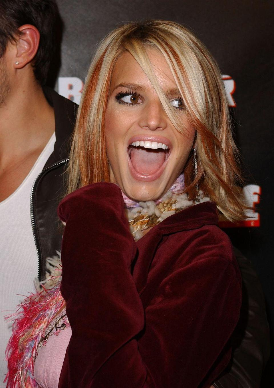 <p>This time period was <em>very</em> punk rock—even if you, like Jessica Simpson, were the furthest thing from that. Adding a few colorful strands to your hair was an easy way to achieve this edgy look. </p>