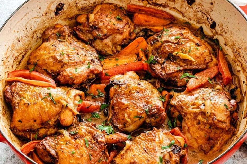 """<strong><a href=""""https://wellandtasty.com/easy-braised-chicken-thighs/"""" target=""""_blank"""" rel=""""noopener noreferrer"""">Easy Braised Chicken Thighs from Well and Tasty</a></strong>"""