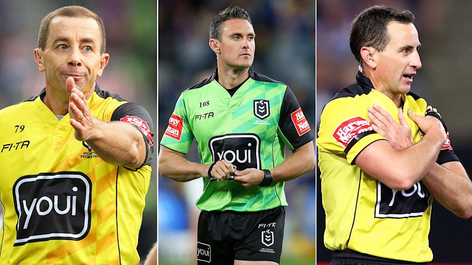 Pictured here, the NRL's referees have been accused of self-interest by ARL Commission chief Peter V'landys.