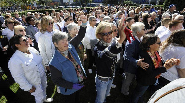 In Provincetown, Mass., over the weekend, 53 lesbian couples took part in Bride Pride: World's Largest All-Girl Wedding and Renewal Ceremony. (Photo: Steve Heaslip/Cape Cod Times)