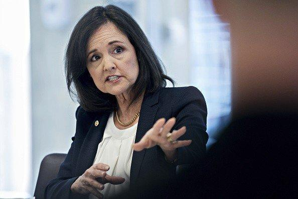 """Judy Shelton, former U.S. executive director for the European Bank for Reconstruction and Development, in 2019. <span class=""""copyright"""">(Andrew Harrer / Bloomberg)</span>"""