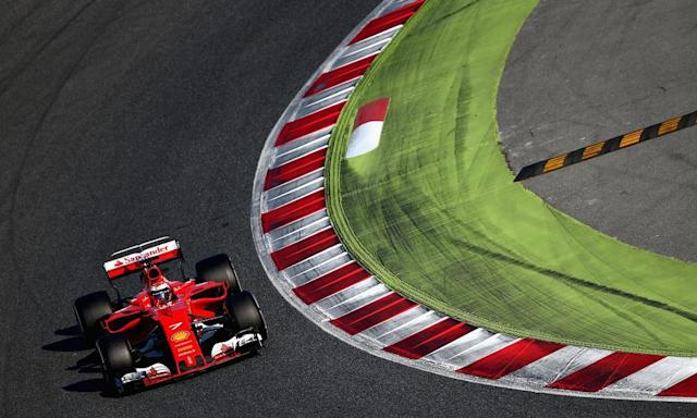 """<span class=""""element-image__caption"""">Kimi Raikkonen on track during the final day of Formula One winter testing at the Circuit de Catalunya.</span> <span class=""""element-image__credit"""">Photograph: Dan Istitene/Getty Images</span>"""