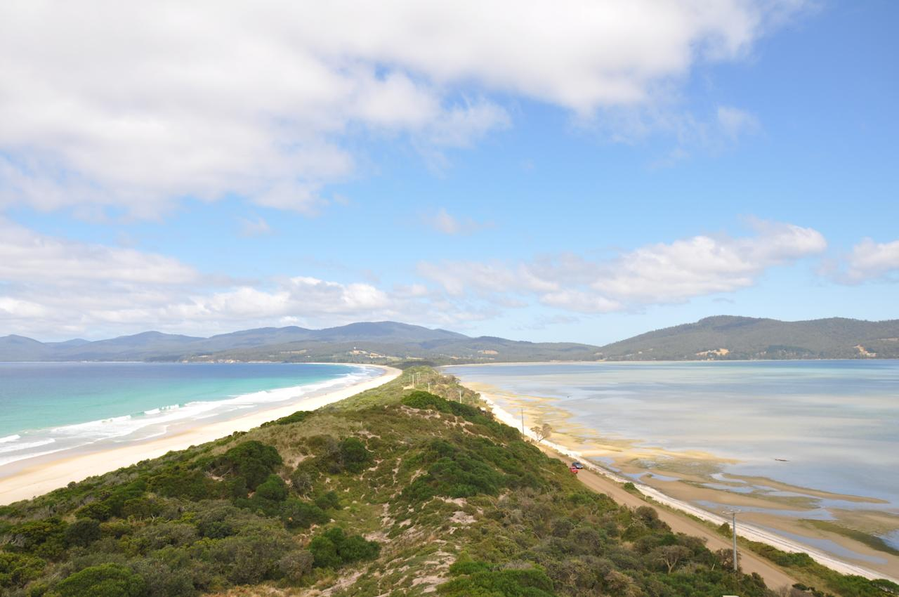 In case you're wondering, it's not all about food. Tasmania is also a destination of stunning vistas and blue seas. This picture was taken at The Neck, in Bruny Island. On the left you see the tide coming in and on the right, you see it going out. Very cool.