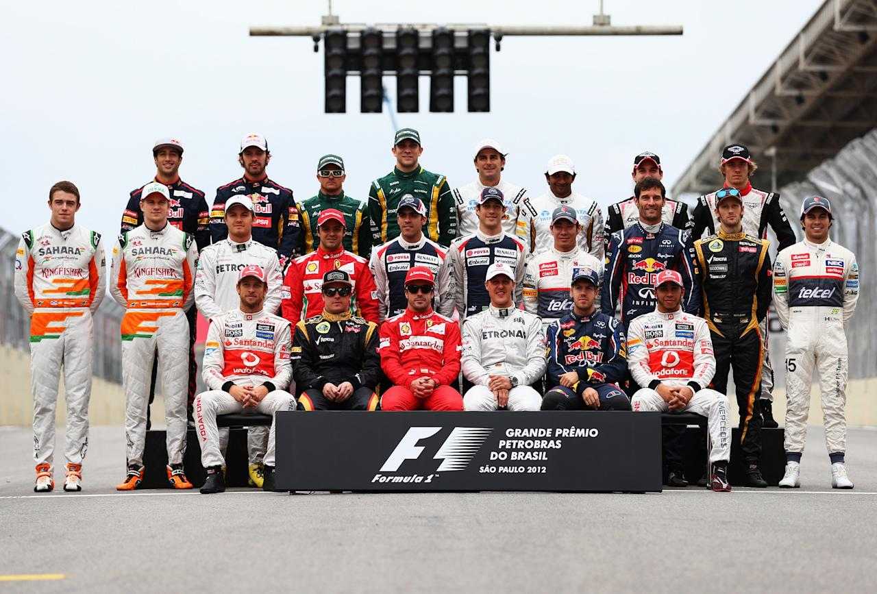 SAO PAULO, BRAZIL - NOVEMBER 25:  The F1 drivers of 2012 pose for an end of season photograph before the Brazilian Formula One Grand Prix at the Autodromo Jose Carlos Pace on November 25, 2012 in Sao Paulo, Brazil.  (Photo by Clive Mason/Getty Images)