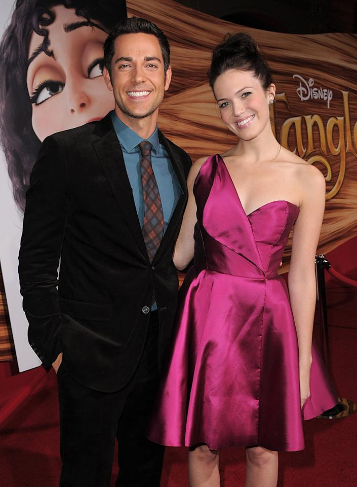 """<a href=""""http://movies.yahoo.com/movie/contributor/1808421073"""">Zachary Levi</a> and <a href=""""http://movies.yahoo.com/movie/contributor/1802753883"""">Mandy Moore</a> attend the Los Angeles premiere of <a href=""""http://movies.yahoo.com/movie/1810121160/info"""">Tangled</a> on November 14, 2010."""