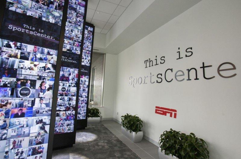 Interactive walls in the lobby of Digital Center 2, a new 194,000 sq. ft building on the ESPN campus in Bristol, Connecticut May 22, 2014 REUTERS/Michelle McLoughlin