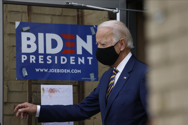 Democratic presidential candidate, former Vice President Joe Biden arrives for a meeting with small business owners, Wednesday, June 17, 2020, in Yeadon, Pa. (AP Photo/Matt Slocum)