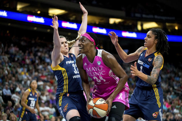 "<a class=""link rapid-noclick-resp"" href=""/wnba/teams/min/"" data-ylk=""slk:Minnesota Lynx"">Minnesota Lynx</a> center <a class=""link rapid-noclick-resp"" href=""/wnba/players/4396/"" data-ylk=""slk:Sylvia Fowles"">Sylvia Fowles</a> (C) works through two <a class=""link rapid-noclick-resp"" href=""/wnba/teams/ind/"" data-ylk=""slk:Indiana Fever"">Indiana Fever</a> defenders during an Aug. 18, 2017, WNBA game. (AP)"