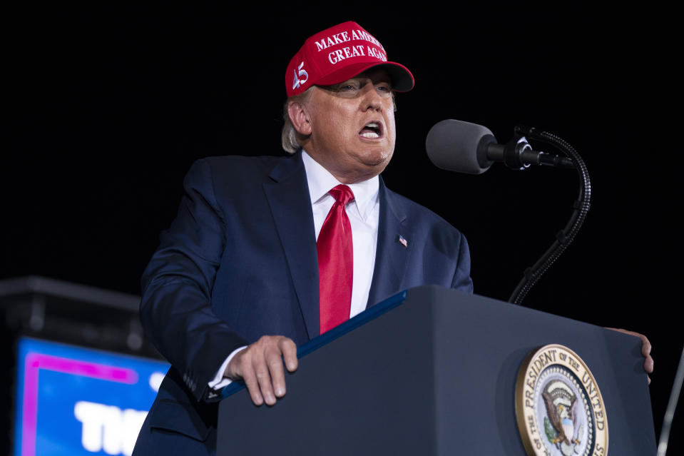 President Donald Trump speaks during a campaign rally at Miami-Opa-locka Executive Airport, Monday, Nov. 2, 2020, in Opa-locka, Fla. (AP Photo/Evan Vucci)