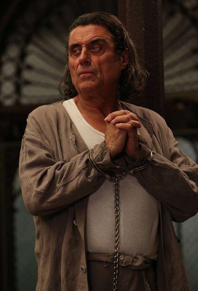 "Ian McShane as Leigh in the ""American Horror Story: Asylum"" episode, ""Unholy Night."""