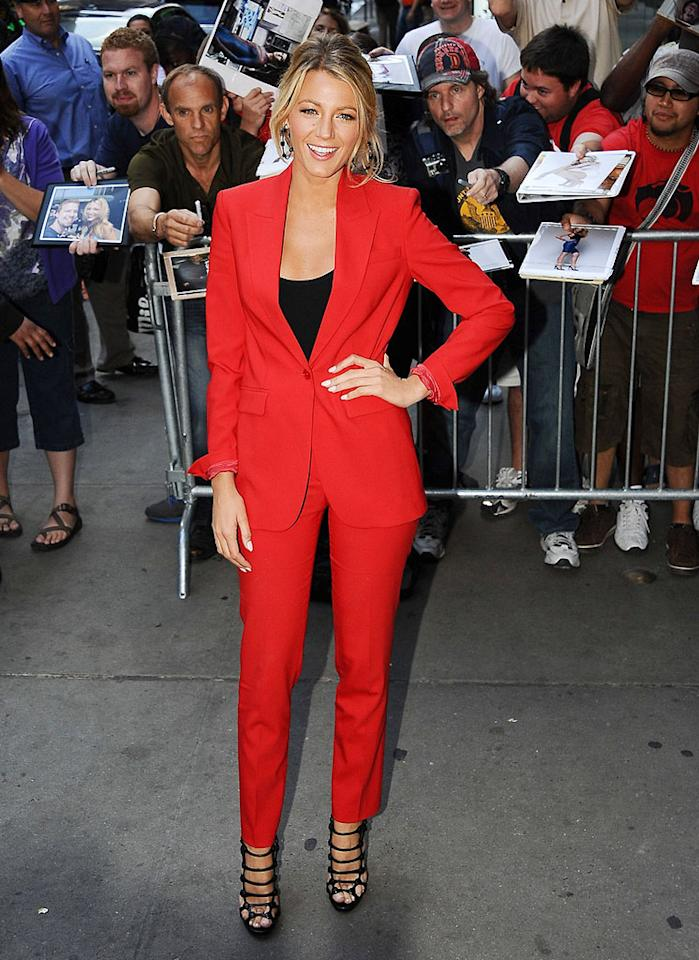 "Also spotted in the hot hue was Blake Lively, who rocked the you-know-what out of a Michael Kors suit, black tank, and strappy Christian Louboutin sandals during her Wednesday morning appearance on ""Good Morning America."" (6/27/2012)"