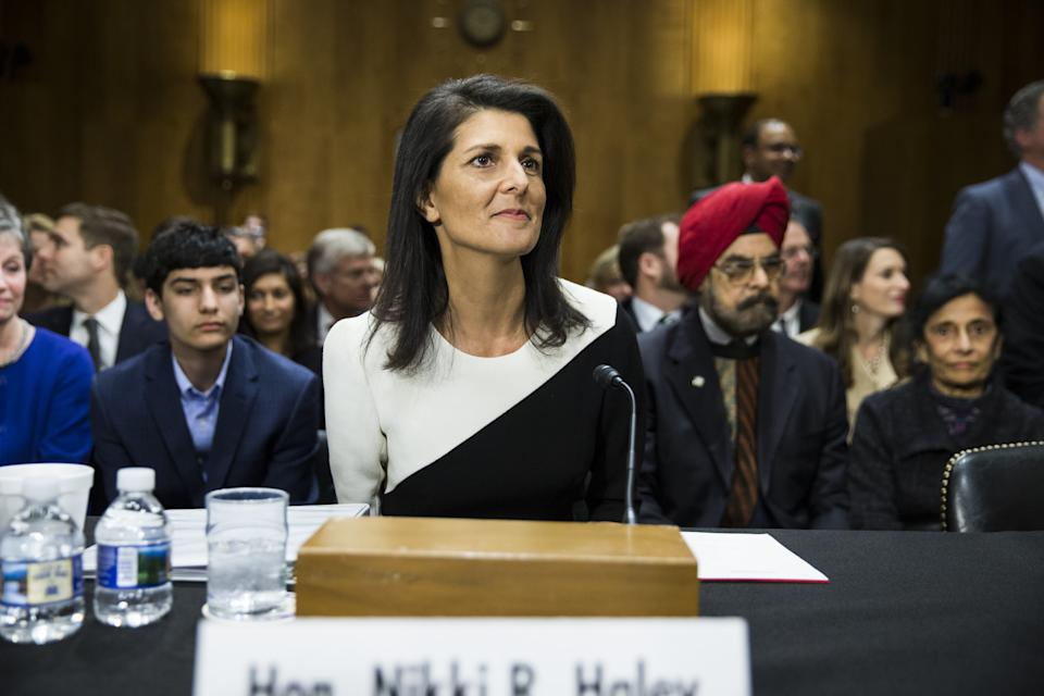Nikki Haley testifies before the Senate Foreign Relations Committee during her confirmation hearing for ambassador to the United Nations on Jan. 18, 2017. (Samuel Corum/Anadolu Agency/Getty Images)