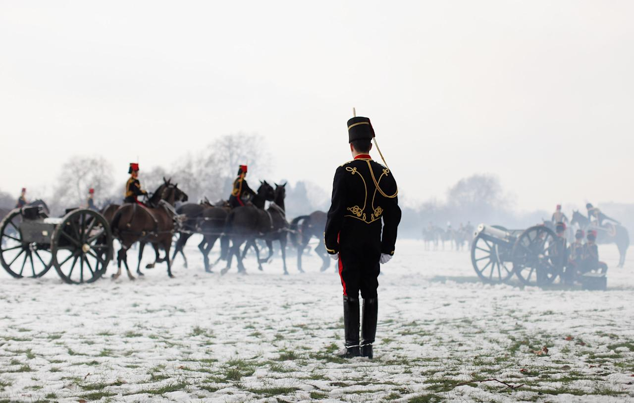 LONDON, ENGLAND - FEBRUARY 06:  Members of the King's Troop Royal Horse Artillery depart after firing a 41 gun salute in Hyde Park to mark the 60 anniversary of the accession of Her Majesty Queen Elizabeth II on February 6, 2012 in London, England.  The 41 gun salute also signifies the official start to the celebrations for the Queen's Diamond Jubilee and comes after the King's Troop left their barracks in St John's Wood for the final time. The King's Troop Royal Horse Artillery will relocate from their North London barracks, where they have been based since their formation by King George VI in 1947, to a purpose-built equestrian site in Woolwich.  (Photo by Oli Scarff/Getty Images)