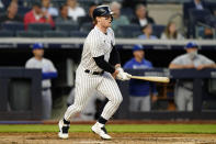 New York Yankees Clint Frazier watches his two-run double during the fourth inning of a baseball gam against the Kansas City Royals, Wednesday, June 23, 2021, at Yankee Stadium in New York. (AP Photo/Kathy Willens)
