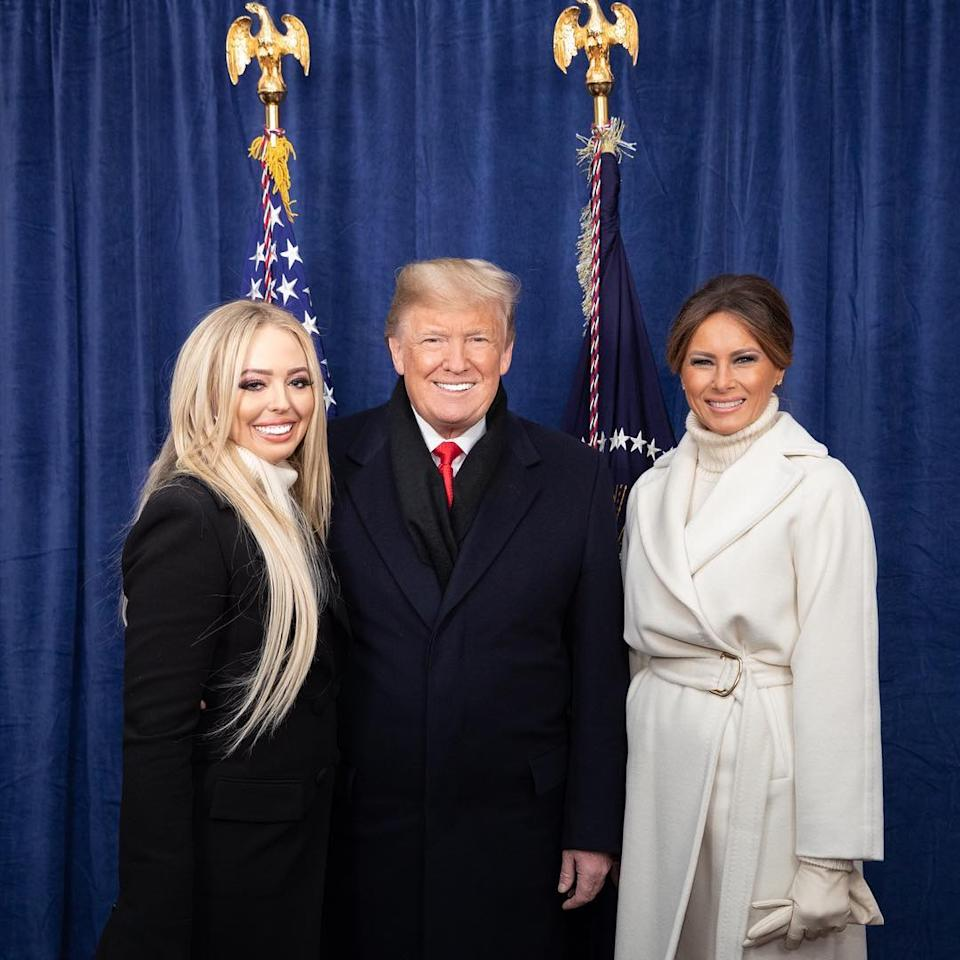 Tiffany Trump, her father, former US President Donald Trump and stepmother, former First Lady Melania Trump