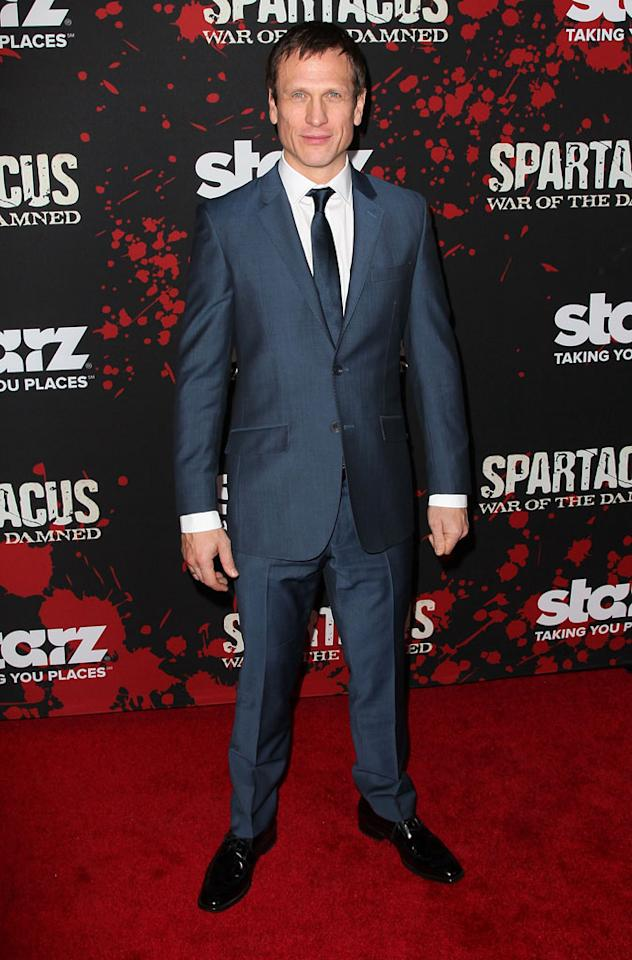 "Simon Merrells attends the premiere of Starz's ""Spartacus: War of the Damned"" at Regal Cinemas L.A. Live on January 22, 2013 in Los Angeles, California."