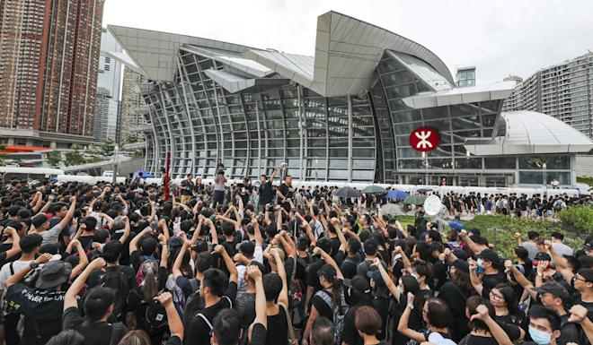 Protesters gathered outside the West Kowloon Station, after a march from Tsim Sha Tsui on July 7. They had tried to relay their message to mainland Chinese tourists using the high-speed cross-border rail link. Photo: Sam Tsang