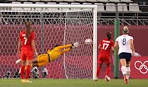 <p>KASHIMA, JAPAN - AUGUST 02: Adrianna Franch #18 of Team United States fails to save a penalty from Jessie Fleming #17 of Team Canada as she goes on to score her side's first goal during the Women's Semi-Final match between USA and Canada on day ten of the Tokyo Olympic Games at Kashima Stadium on August 02, 2021 in Kashima, Ibaraki, Japan. (Photo by Atsushi Tomura/Getty Images)</p>