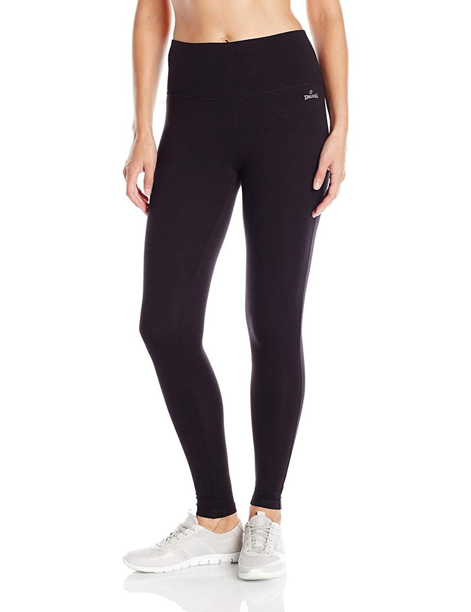 "<h3><strong><a href=""https://www.amazon.com/Spalding-Womens-High-Waisted-Legging-Black/dp/B01IDGA1LU"" rel=""nofollow noopener"" target=""_blank"" data-ylk=""slk:Spalding High-Waisted Legging"" class=""link rapid-noclick-resp"">Spalding High-Waisted Legging</a></strong> </h3><br><br>4.5 out of 5 stars and 909 reviews<br><br><strong>Promising Review: </strong>Most users have been longtime fans of this specific pair of leggings. One Amazon customer even calls them the ""<a href=""https://www.amazon.com/gp/customer-reviews/RLA13X11VAEXQ"" rel=""nofollow noopener"" target=""_blank"" data-ylk=""slk:best leggings ever"" class=""link rapid-noclick-resp"">best leggings ever</a>"" citing, ""These are by far the best leggings I've ever worn. The high waist makes them really comfortable and they stay put. They're not really see through when you bend over either. I've had two pairs for a couple years and no holes yet! I have a pair for everyday.""<br><br><strong>Spalding</strong> High-Waisted Legging, $, available at <a href=""https://www.amazon.com/Spalding-Womens-High-Waisted-Legging-Medium/dp/B01IDGA1LU"" rel=""nofollow noopener"" target=""_blank"" data-ylk=""slk:Amazon"" class=""link rapid-noclick-resp"">Amazon</a>"