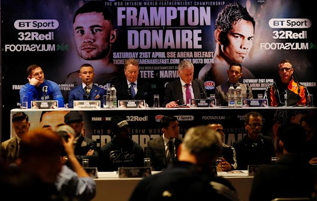 Boxing - Carl Frampton & Nonito Donaire Public Work-Outs - Victoria Square Shopping Centre, Belfast, Britain - April 18, 2018 Carl Frampton and Nonito Donaire with their teams during a press conference Action Images via Reuters/Jason Cairnduff