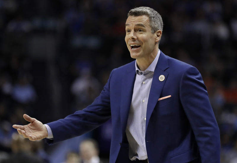 Virginia head coach Tony Bennett reacts to a call during the second half of an NCAA college basketball game against Florida State in the Atlantic Coast Conference tournament in Charlotte, N.C., Friday, March 15, 2019. (AP Photo/Nell Redmond)