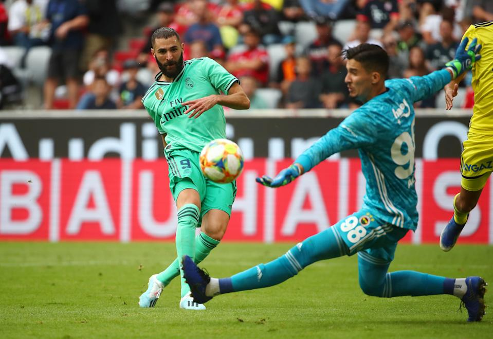 Soccer Football - Audi Cup - Third Place Play Off - Real Madrid v Fenerbahce - Allianz Arena, Munich, Germany - July 31, 2019  Real Madrid's Karim Benzema shoots at goal  REUTERS/Michael Dalder