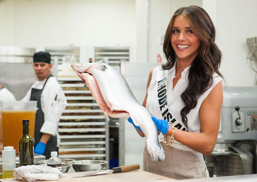 Miss Rhode Island USA 2013, Brittany Stenovitch poses during the Cooking Demo and Lunch event at Gordon Ramsay Pub & Grill at the Caesars Palce, in Las Vegas, Nevada on Tuesday, June 4, 2013.