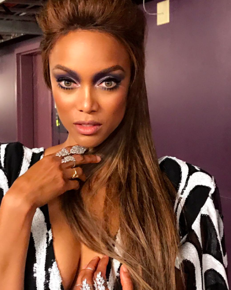 <p>The <em>America's Got Talent</em> judge channeled the '60s and brought back the bouffant hairdo, bold brows and eyeshadow, and doll-like false eyelashes. (Photo: Tyra Banks via Instagram) </p>