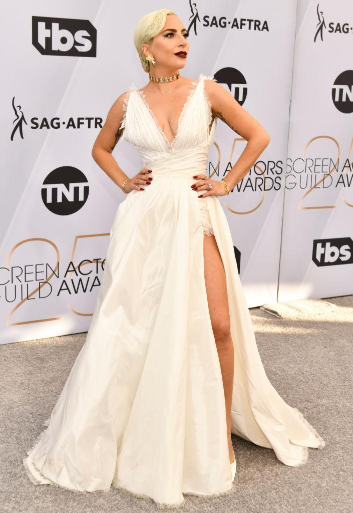 Lady Gaga arrives at the 25th Annual Screen Actors Guild Awards wearing a Dior haute couture white plunging neckline gown at the Shrine Auditorium on Jan. 27, 2019 in Los Angeles, California. (Photo: Rodin Eckenroth/Getty Images)