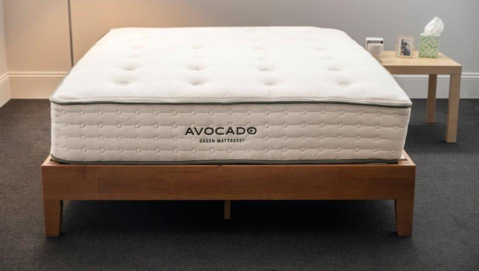 The Avocado Green Mattress is eco-friendly and comfortable for side and back sleepers.