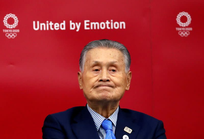 FILE PHOTO: Yoshiro Mori, President of the Tokyo 2020 Olympic Games Organising Committee, attends a news conference in Tokyo