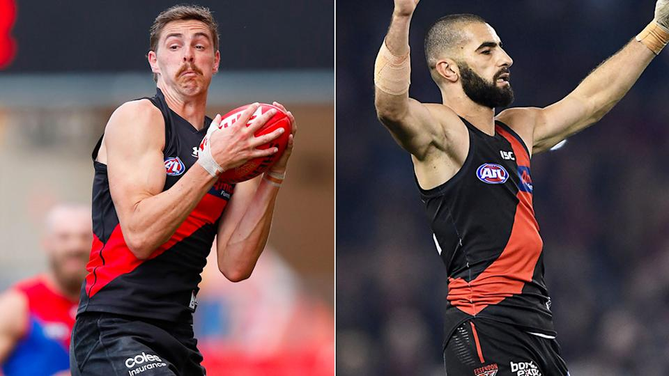 Pictured here, Essendon stars Joe Daniher and Adam Saad both want to leave the club.