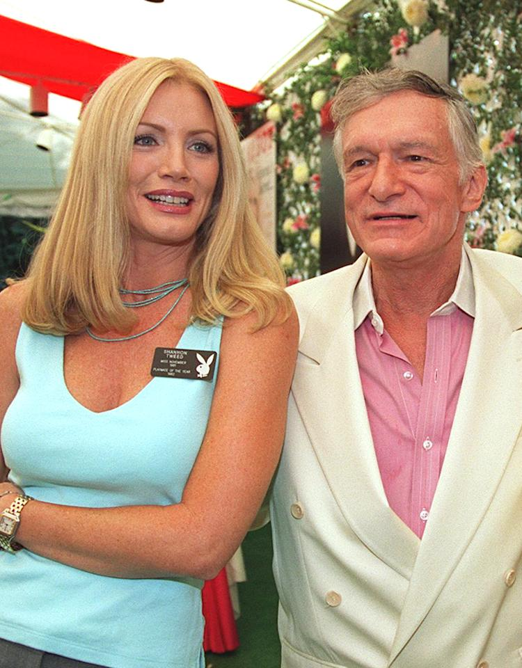 7/16/99 Beverly Hills, CA Hugh Hefner, Shannon Tweed, and Diane Hunter (1954 Playmate) at the First-Ever Playboy Expo. The expo gave a chance for fans to meet centerfolds, celebrities, Bunnies, wirters, artists, photographers, and cartoonists. Photo Brad Elterman/Online USA, Inc.
