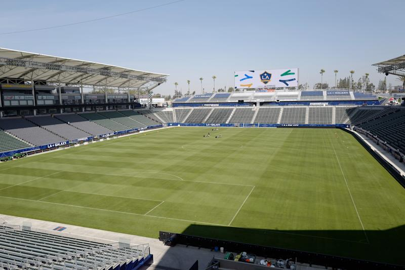 CARSON, CA - MARCH 30: A general view of the StubHub Stadium home of LA Galaxy March 30, 2018 in Carson, California. (Photo by Matthew Ashton - AMA/Getty Images)